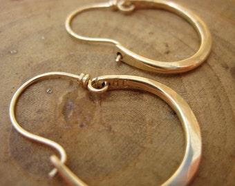 Artisan Hammered 14kt Gold Filled Hoops Earrings Petite Julia