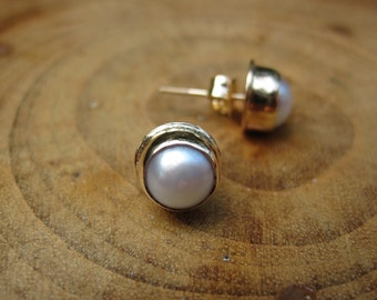 Handmade Pearl 14kt Gold Studs Post Security Vero Earrings 6mm