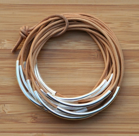 Handmade Nude Natural Leather Cord Bangles With Silver Plated Tubes