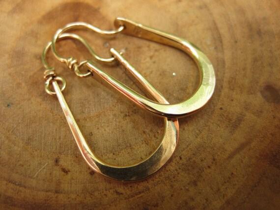 Petite Maria Hammered Solid 14kt Gold Hoops Earrings U Shape