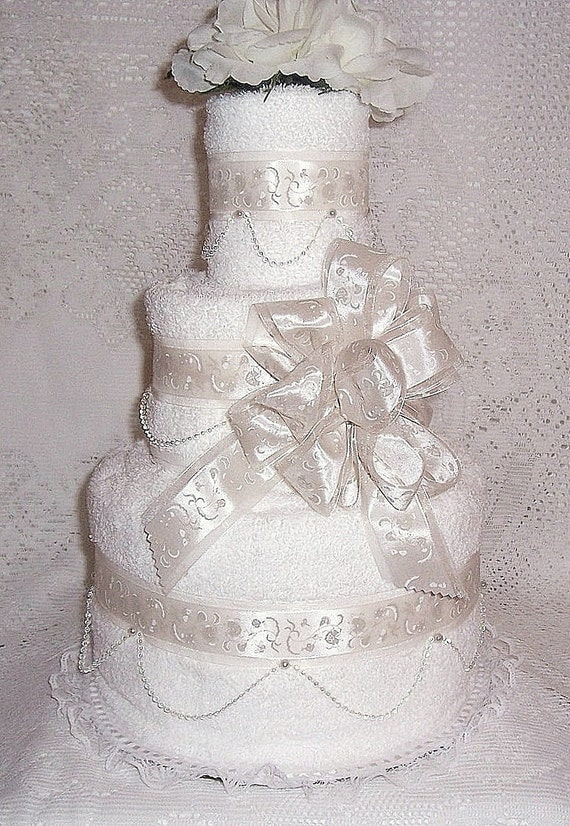 wedding shower towel cake centerpiece With wedding shower towel cake centerpiece