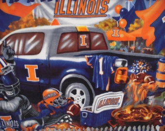 Illinois NoSew Fleece Blanket