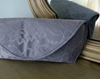 Dove Grey Lace Clutch Ready to ship