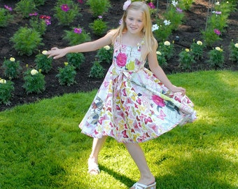 Girls Sun Dress Sewing Pattern PDF Full Circle Skirt Twirl