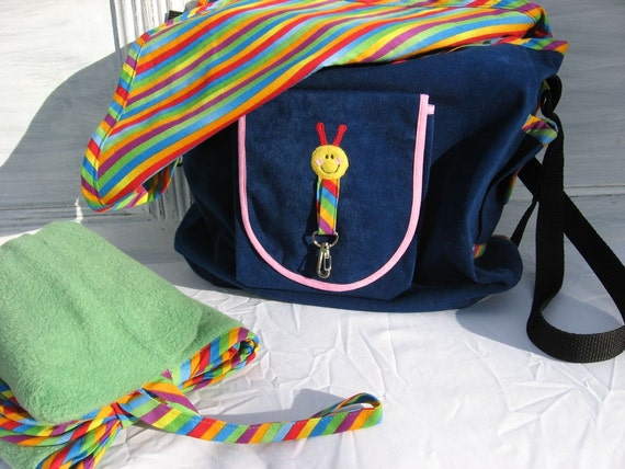 Blue Suede Rainbow Diaper Bag Compact Travel Change Set Ready to Ship