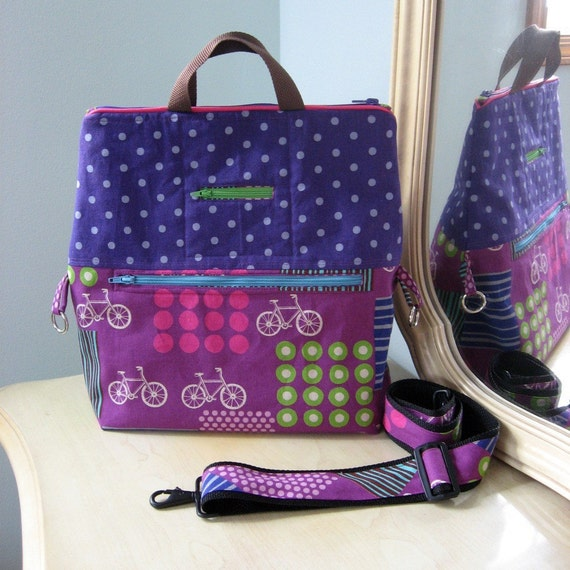 Ready to Ship Plum Bicycles Tote and Shoulder Bag