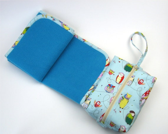 Change Pad Bag Made to Order in Blue Owls Fabric