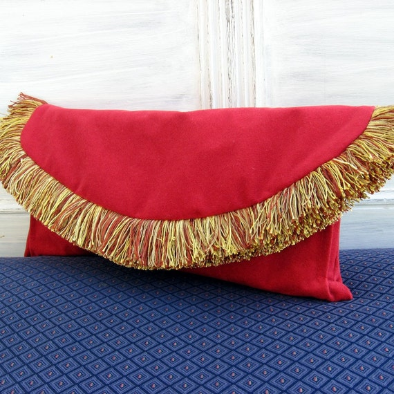 Red Suede Gold Fringe Large Clutch Ready to Ship