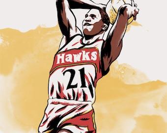 Dominique Wilkins Atlanta Hawks NBA Illustrated Print
