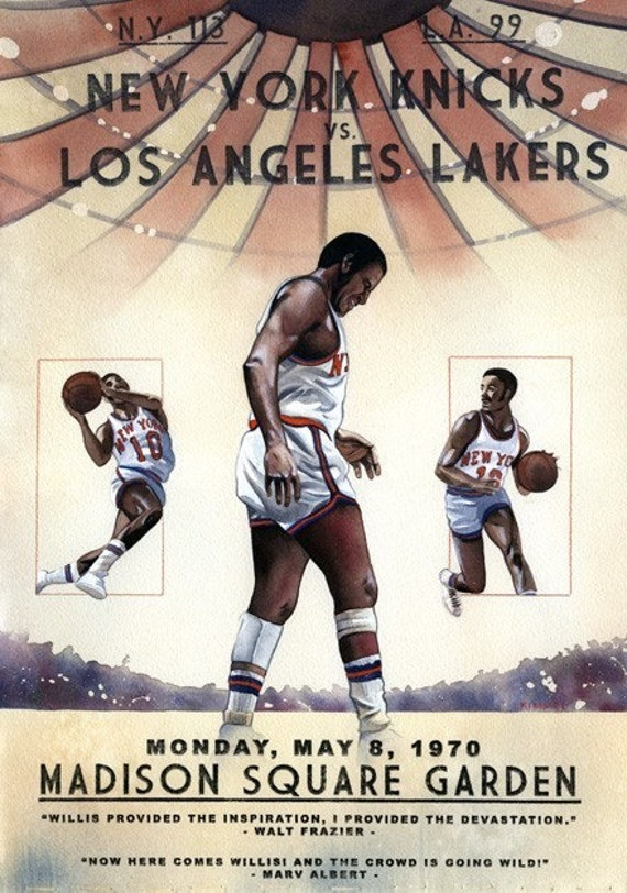 New York Knicks 1970 NBA Championship Painting Print 11x17