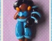 Jasmine polymer clay bead /hair-bow center/charm