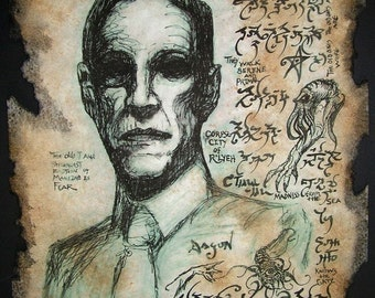cthulhu HP Lovecraft portrait Necronomicon