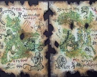 cthulhu RLYEH MAP larp magic rpg prop necronomicon fragments lovecraft dark art
