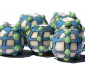 LBStudio 1494 Turquoise Connected Dots Lampwork Bead Set (6)