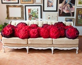Red Ombre Ruffle Rose Pillow - Large