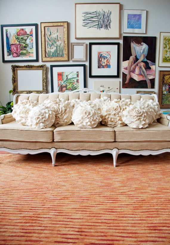 Cream Ivory Mix Ruffle Rose Pillow Small - as seen in Better Homes & Gardens