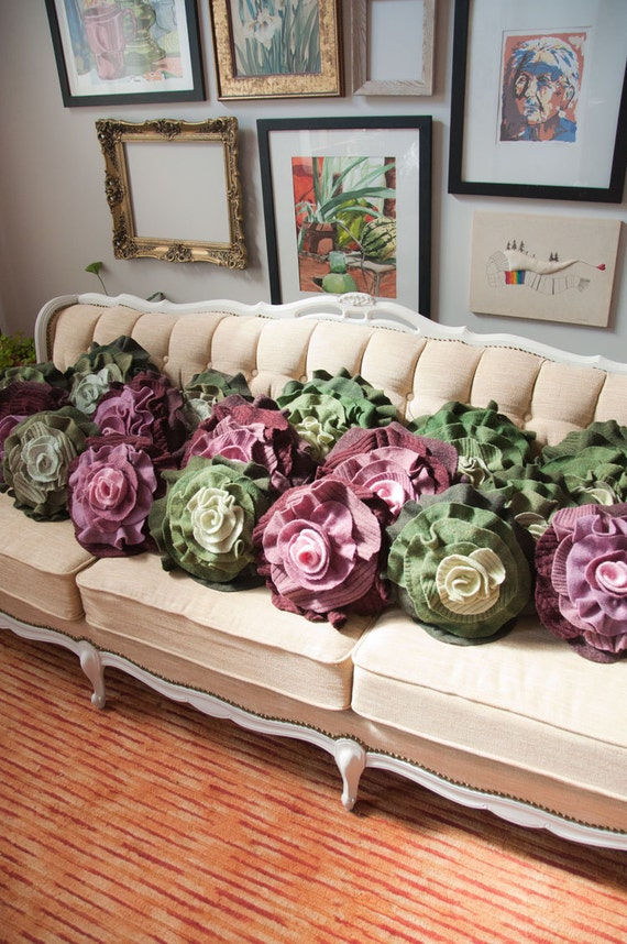 Olive Green Ombre Ruffle Rose Pillow - Small: made of recycled wool knits