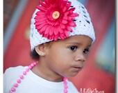 Faux Flower Beanie Hat