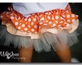 Dotty Tangerine  Ruffle Bottom Bloomers