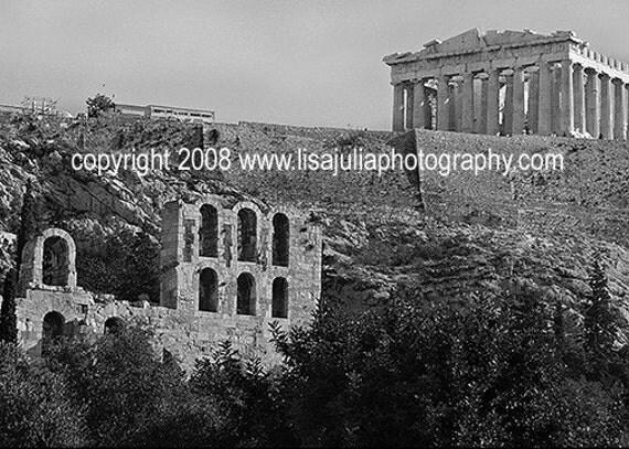 5x7 Black and White Fine Art Photograph of the Acropolis\/Parthenon