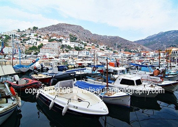 5x7 Fine Art Photograph of The Boats of Hydra Harbor, Greece