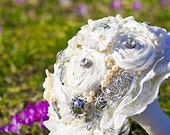 Bridal bouquet FAIRY TALE - dupioni silk rolled rosette , lace, pearls and vintage jewels. Vintage inspired .Made to order