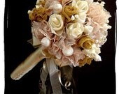 CORAL REEF Vintage inspired wedding bouquet with seashells pearls and lace
