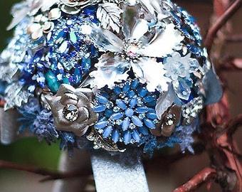 Wedding bouquet Vintage brooch bouquet DAZZLING BLUE-  bridal bouquet -  - blue and silver SALE