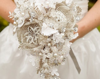 MC custom made to order Wedding bouquet  - Bridal brooch  bouquet ULTIMATE GLAM - wedding keepsake