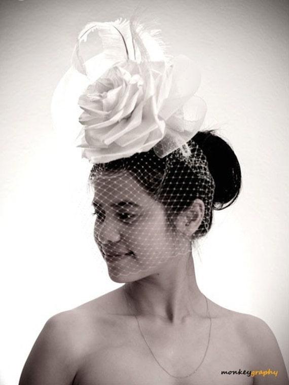Wedding hat hair accessories ROSE - Vintage inspired Mini Hat Bridal fascinator - Made to order