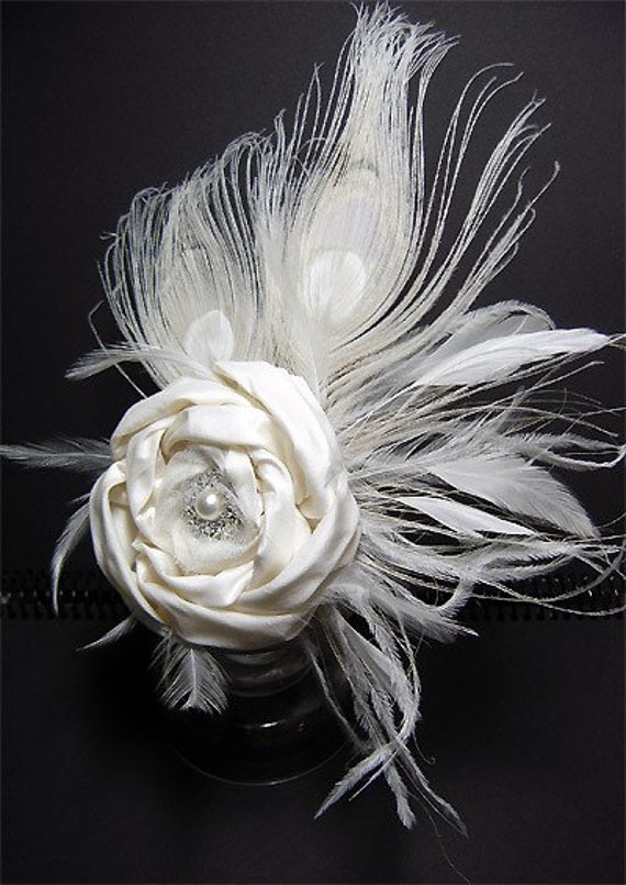 Made to order FLORENCE SPRING DOUBLE - Peacock bridal pure dupioni silk rose hairclip fascinator