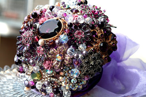Bridal brooch bouquet  DAZZLING PURPLE IV - wedding keepsake made with vintage rhinestone brooches, earrings and more