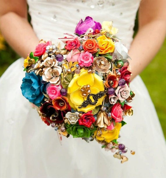 Reserved - MC Bridal brooch  bouquet EVERLASTING LOVE -  made with vintage brooches, earrings and more, multicolours all roses