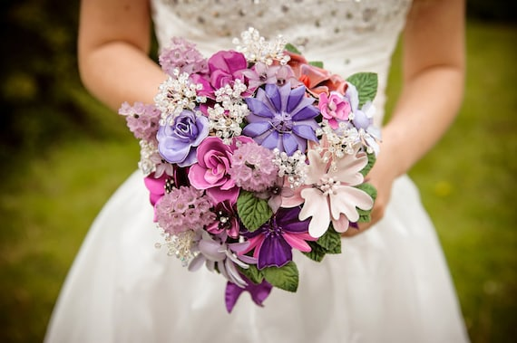 Set of wedding brooch bouquet  and boutonniere - Purple Sweetness - fresh cut flower style