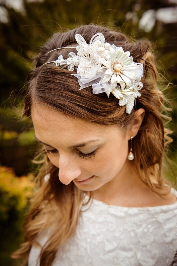 CREAMY EDEN - Bridal side tiara  with vintage enamel flower and french beaded flowers
