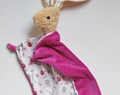 Blanky Bunny Waldorf inspired Natural Materials Pink with Bunnies