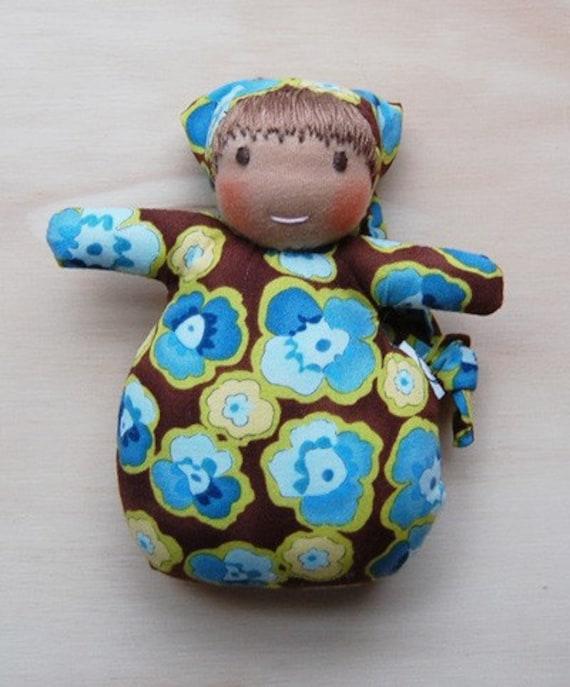 Waldorf inspired Doll Mini Baby Pansies on Brown