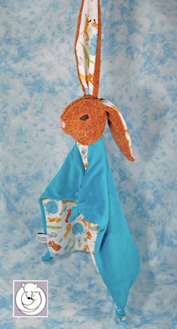 Natural Bunny Blanky Waldorf inspired Baby Toy Turquoise Wild Animals