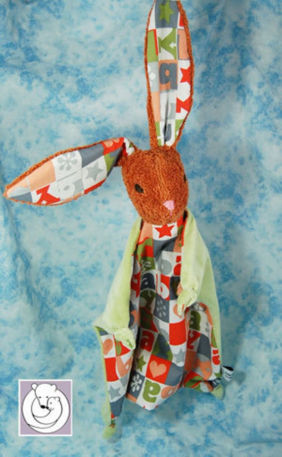 Natural Bunny Blanky Red Brown Waldorf inspired Baby Toy