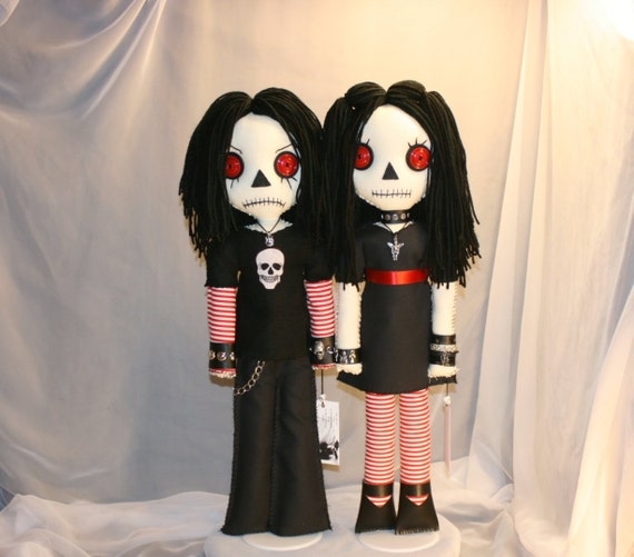 Ooak Raggedy Ann And Andy Rag Dolls Creepy Gothic Folk Art By