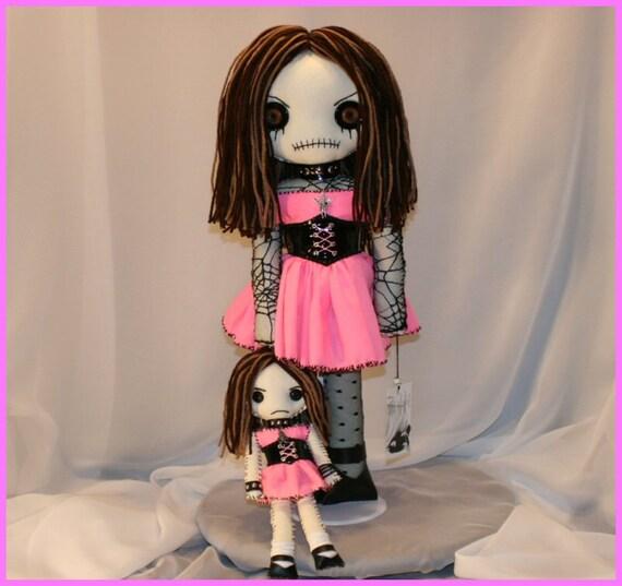 OOAK Hand Stitched Rag Doll Creepy Gothic Folk Art By Jodi Cain