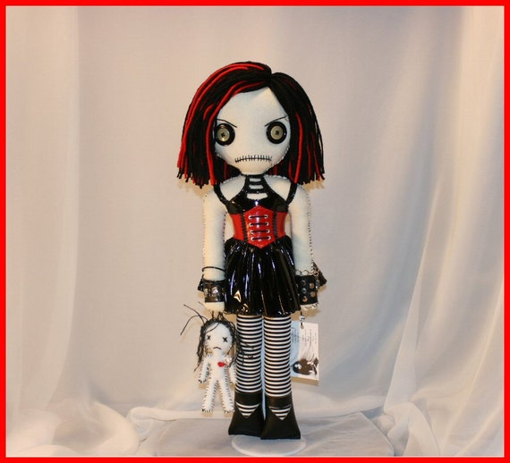 OOAK Hand Stitched Art Doll Creepy Gothic Folk Art By Jodi Cain