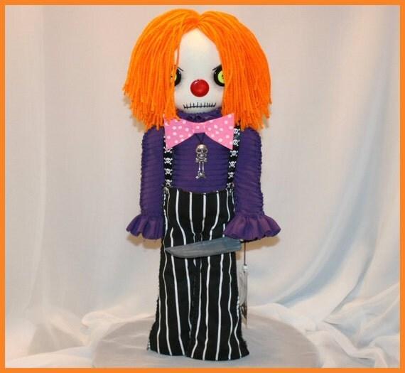 OOAK Hand Stitched Evil Clown Rag Doll Creepy Gothic Folk Art By Jodi Cain