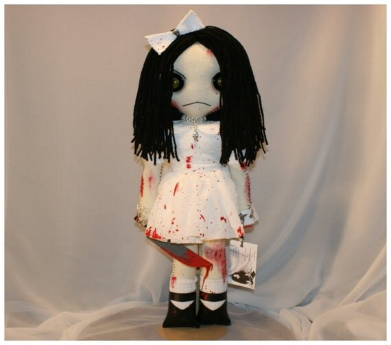 OOAK Hand Stitched Art Doll Creepy Gothic Bloody Gore Folk Art By Jodi Cain TatteredRags