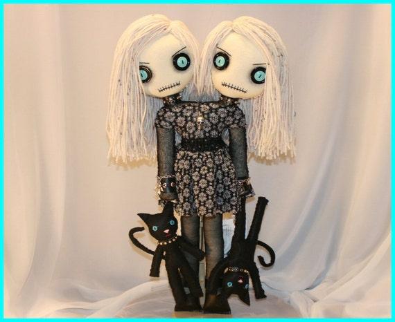 OOAK Siamese Twin Doll Creepy Gothic Folk Art By Jodi Cain