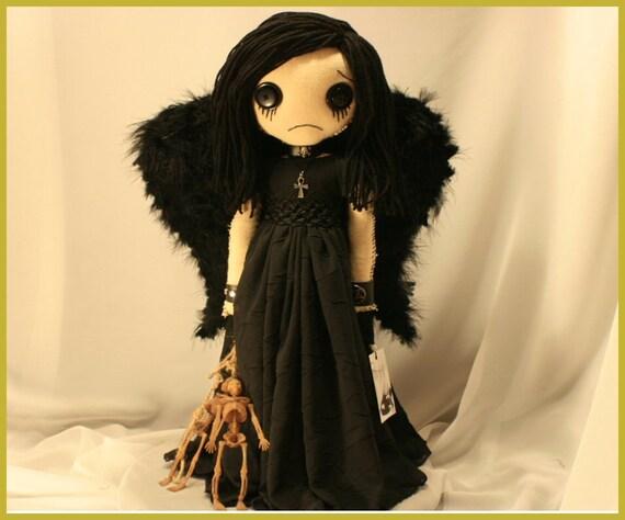 OOAK Dark Angel Of Sorrow Rag Doll Creepy Gothic Folk Art By Jodi Cain
