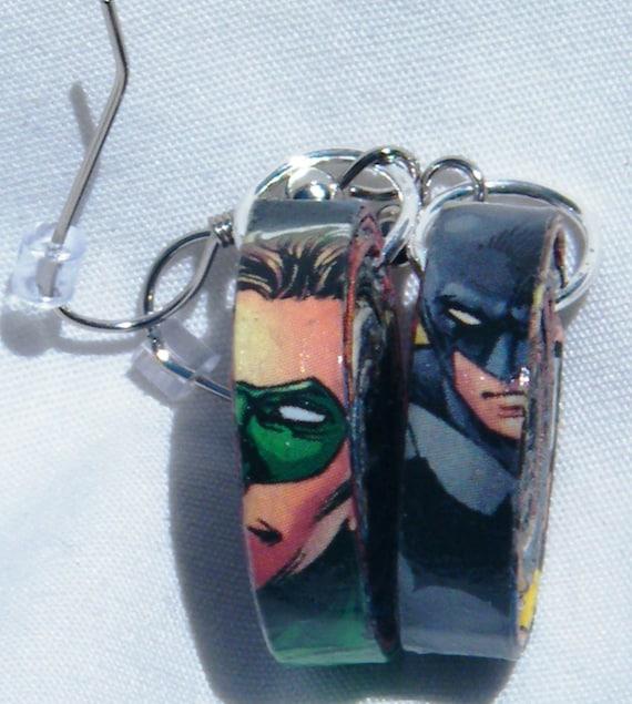Comic Book Earrings- Batman & Green Lantern