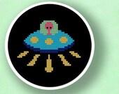 Alien UFO Landing. Cross Stitch Pattern PDF File