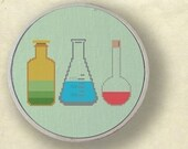 My science experiment. Set of three glass measurements Cross Stitch Patterns PDF File