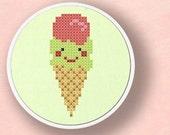 Icecream cone. Cross Stitch PDF Pattern